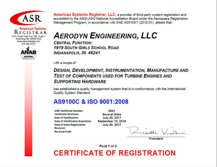 Aerodyn Engineering, LLC Achieves AS9100 Certification - Aerodyn